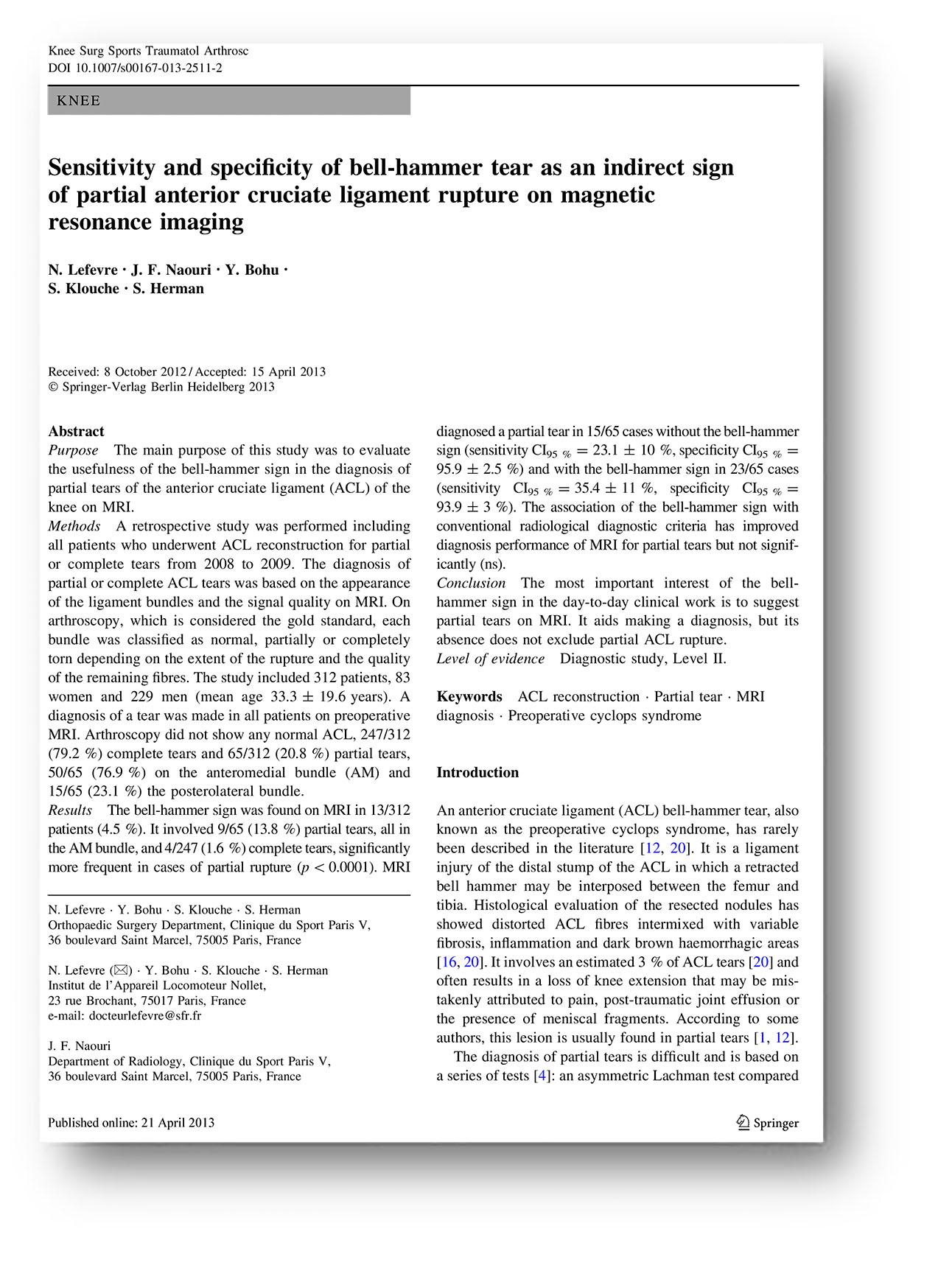patología - RODILLA - ligamento - La sensibilidad y la especificidad ...